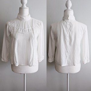 Topshop Pleated Lace Trim Button Back Peasant Top